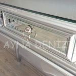 Vintage Silver Lükens Model Gümüş Renk Aynalı Dresuar Takımı-12