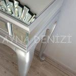 Vintage Silver Lükens Model Gümüş Renk Aynalı Dresuar Takımı-13