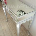 Vintage Silver Lükens Model Gümüş Renk Aynalı Dresuar Takımı-16
