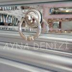 Vintage Silver Lükens Model Gümüş Renk Aynalı Dresuar Takımı-18