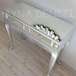 Vintage Silver Lükens Model Gümüş Renk Aynalı Dresuar Takımı-22