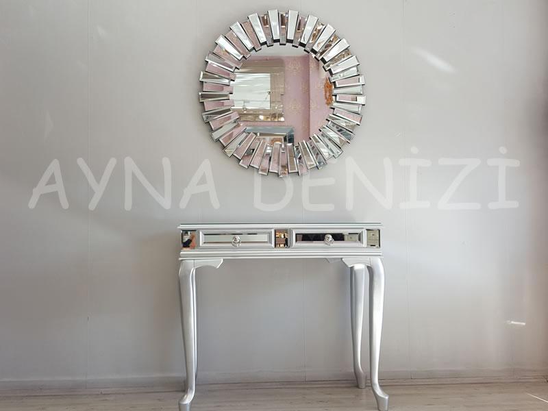 Vintage Silver Lükens Model Gümüş Renk Aynalı Dresuar Takımı