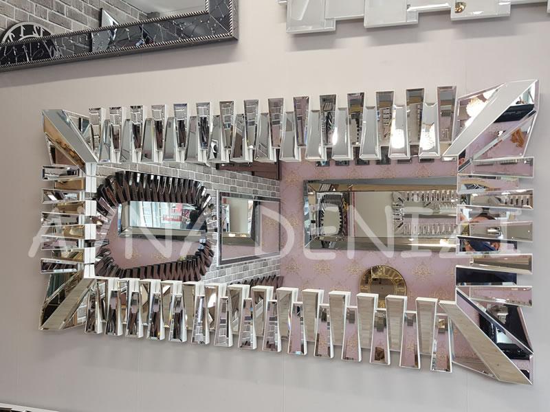 Akustik White Silver Model Beyaz Şeffaf Renk Modern Ayna