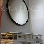 Circle Wood Black Model Siyah Renk Yuvarlak Dairesel Dekoratif Ayna-20