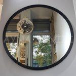 Circle Wood Black Model Siyah Renk Yuvarlak Dairesel Dekoratif Ayna-6