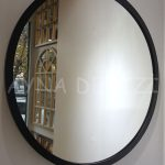 Circle Wood Black Model Siyah Renk Yuvarlak Dairesel Dekoratif Ayna-8