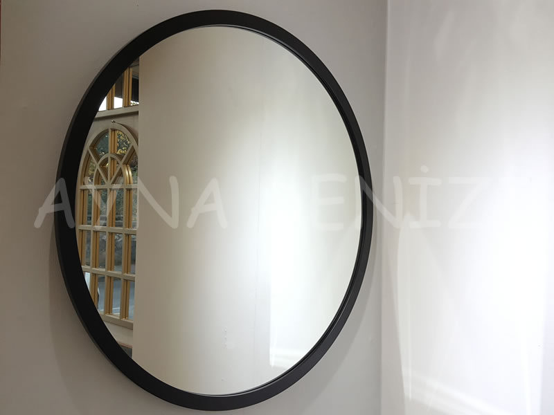 Circle Wood Black Model Siyah Renk Yuvarlak Dairesel Dekoratif Ayna