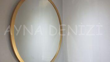 Circle Wood Golden Model Altın Renk Yuvarlak Dairesel Dekoratif Ayna