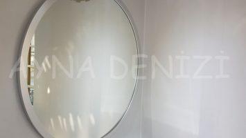 Circle Wood Silver Model Gümüş Renk Yuvarlak Dairesel Dekoratif Ayna