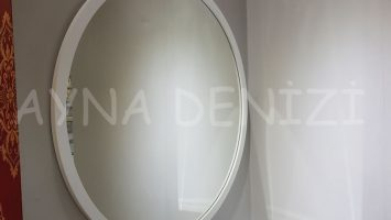 Circle Wood White Model Beyaz Renk Yuvarlak Dairesel Dekoratif Ayna