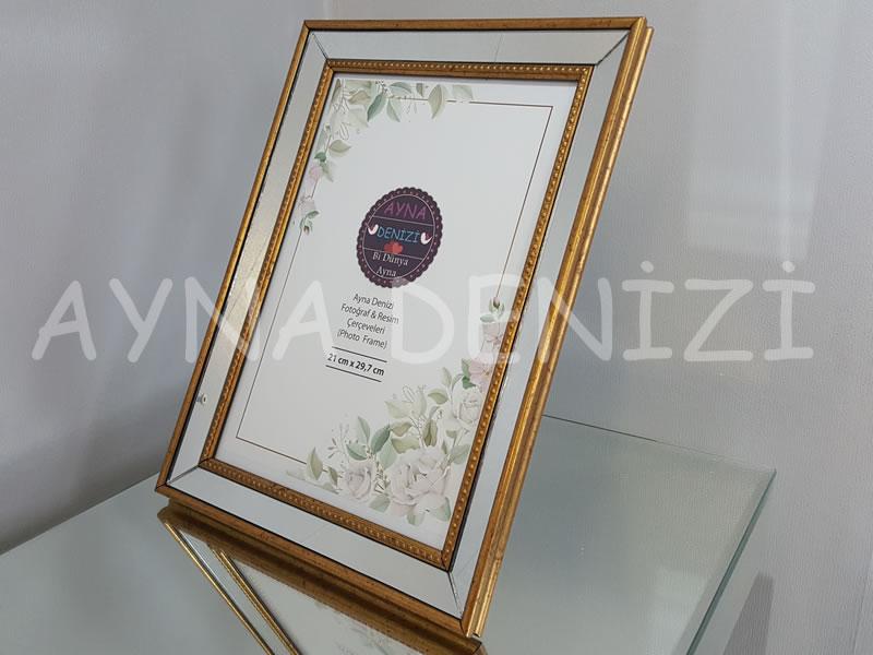 Jesy Fifth Gold Model Altın Renk Dekoratif Aynalı Resim Çerçevesi-1