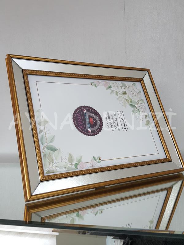 Jesy Fifth Gold Model Altın Renk Dekoratif Aynalı Resim Çerçevesi-10