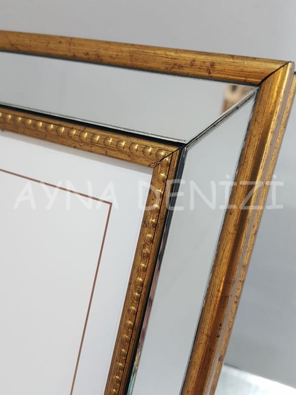 Jesy Fifth Gold Model Altın Renk Dekoratif Aynalı Resim Çerçevesi-18