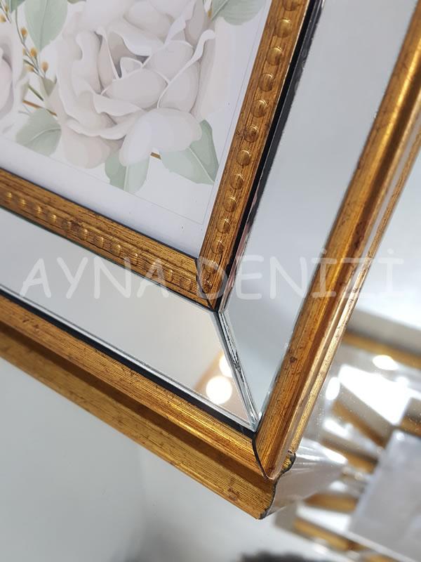 Jesy Fifth Gold Model Altın Renk Dekoratif Aynalı Resim Çerçevesi-20