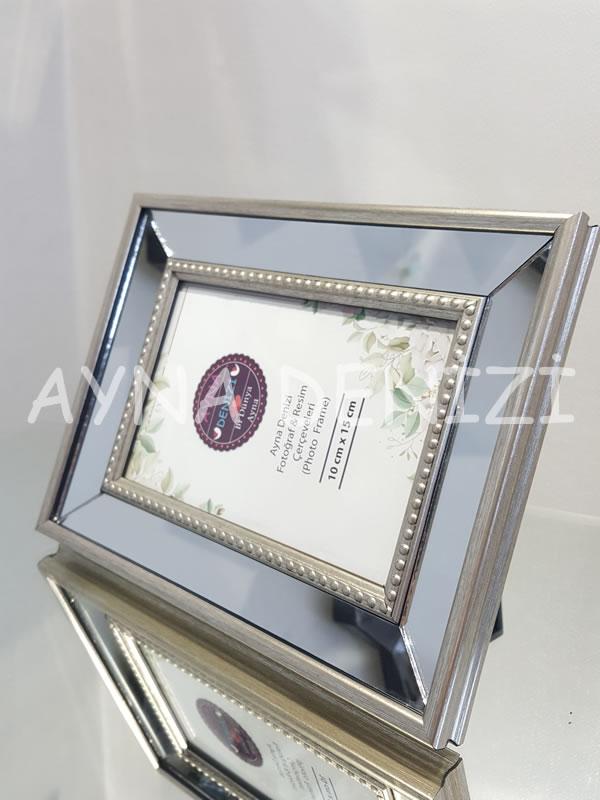 Jesy First Silver Model Gümüş Renk Dekoratif Aynalı Resim Çerçevesi-13