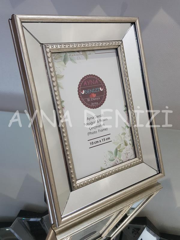 Jesy First Silver Model Gümüş Renk Dekoratif Aynalı Resim Çerçevesi-14