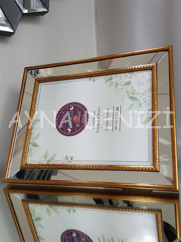 Jesy Fourth Gold Model Altın Renk Dekoratif Aynalı Resim Çerçevesi-12