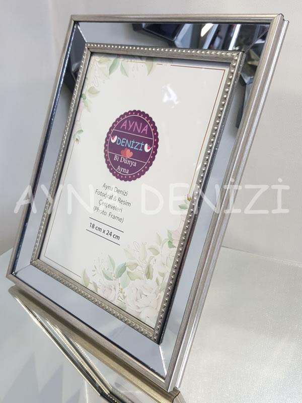 Jesy Fourth Silver Model Gümüş Renk Dekoratif Aynalı Resim Çerçevesi-14