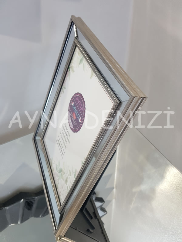 Jesy Fourth Silver Model Gümüş Renk Dekoratif Aynalı Resim Çerçevesi-4