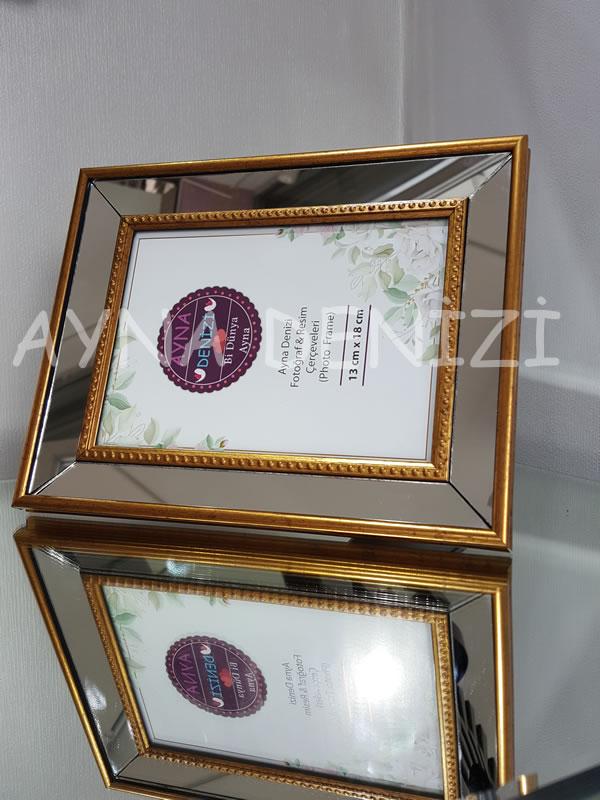 Jesy Second Gold Model Altın Renk Dekoratif Aynalı Resim Çerçevesi-11