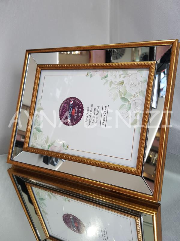 Jesy Third Gold Model Altın Renk Dekoratif Aynalı Resim Çerçevesi-16
