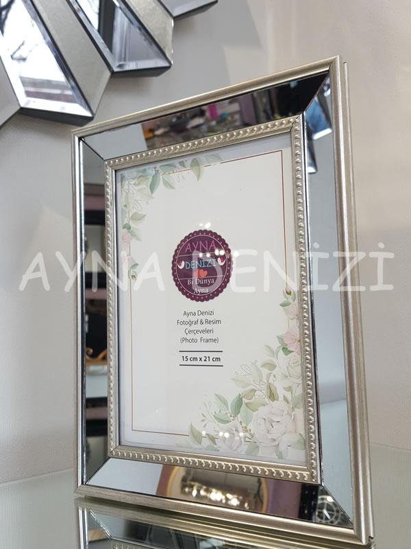 Jesy Third Silver Model Gümüş Renk Dekoratif Aynalı Resim Çerçevesi-14