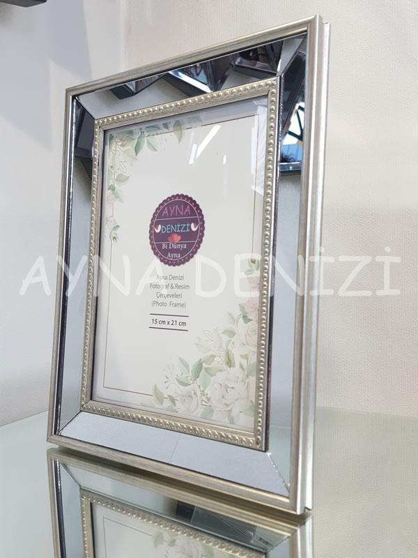 Jesy Third Silver Model Gümüş Renk Dekoratif Aynalı Resim Çerçevesi-15