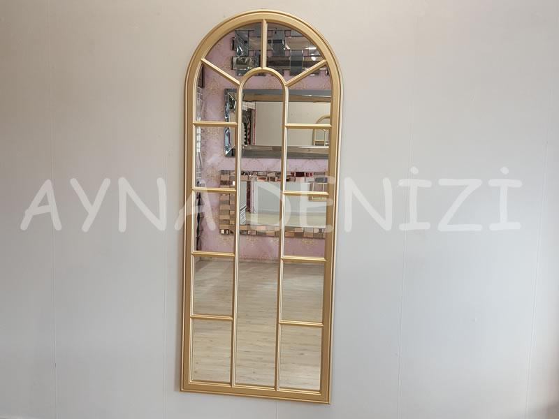 Lecce Model Altın Renk Dekoratif Pencere Ayna