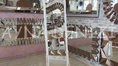 Matmazel Model Beyaz Altın Renk Ayaklı Boy Aynası