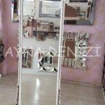 Matmazel Model Eskitme Beyaz Renk Ayaklı Boy Aynası-10
