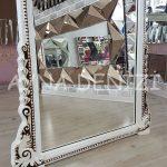 Matmazel Model Eskitme Beyaz Renk Ayaklı Boy Aynası-14
