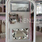 Matmazel Model Eskitme Beyaz Renk Ayaklı Boy Aynası-20