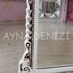 Matmazel Model Eskitme Beyaz Renk Ayaklı Boy Aynası-21