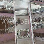 Matmazel Model Eskitme Beyaz Renk Ayaklı Boy Aynası-7