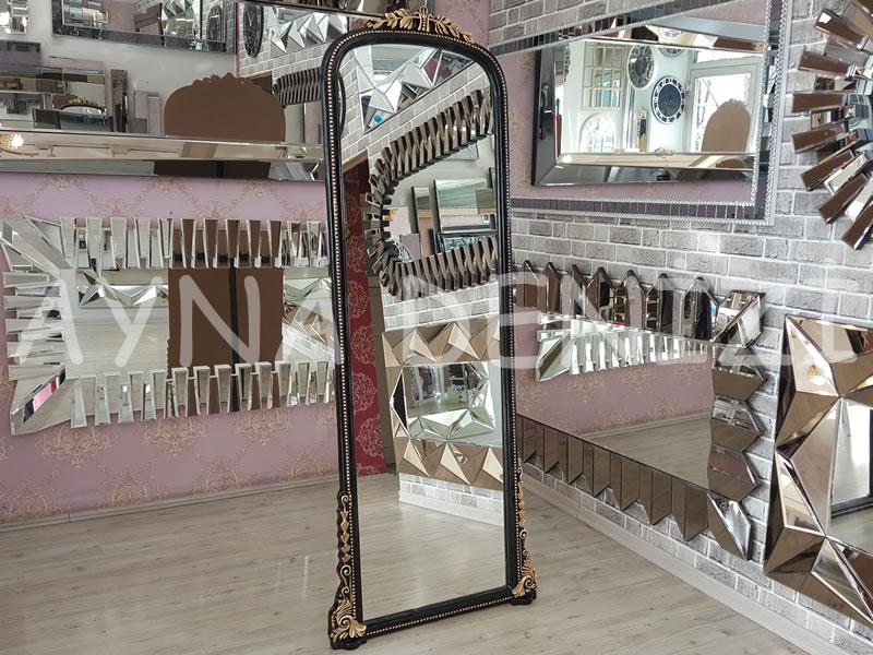 Matmazel Model Siyah Altın Renk Ayaklı Boy Aynası