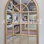 Milano Model Altın Renk Dekoratif Pencere Ayna-12