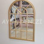 Milano Model Altın Renk Dekoratif Pencere Ayna-13