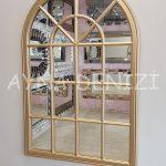 Milano Model Altın Renk Dekoratif Pencere Ayna-2