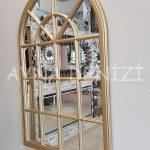 Milano Model Altın Renk Dekoratif Pencere Ayna-5