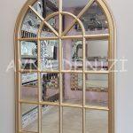 Milano Model Altın Renk Dekoratif Pencere Ayna-6