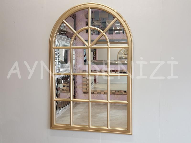 Milano Model Altın Renk Dekoratif Pencere Ayna