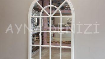 Milano Model Beyaz Renk Dekoratif Pencere Ayna