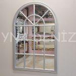 Milano Model Gümüş Renk Dekoratif Pencere Ayna-1
