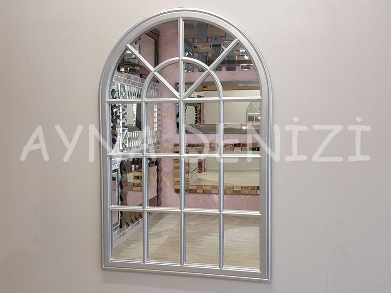 Milano Model Gümüş Renk Dekoratif Pencere Ayna