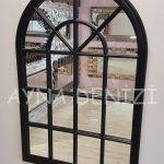 Milano Model Siyah Renk Dekoratif Pencere Ayna-10