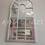 Ravenna Model Gümüş Renk Dekoratif Pencere Ayna-7