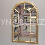 Bergamo Model Altın Renk Dekoratif Pencere Ayna-1