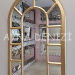 Bergamo Model Altın Renk Dekoratif Pencere Ayna-10