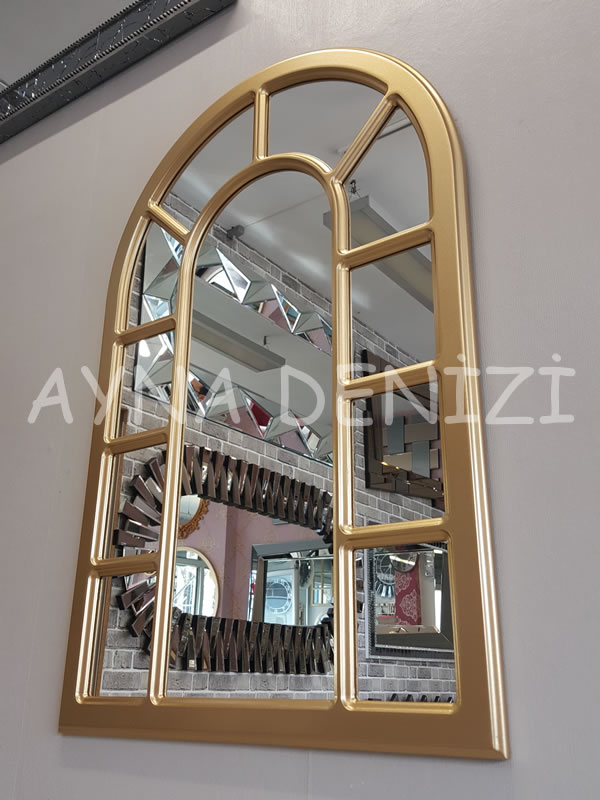 Bergamo Model Altın Renk Dekoratif Pencere Ayna-11