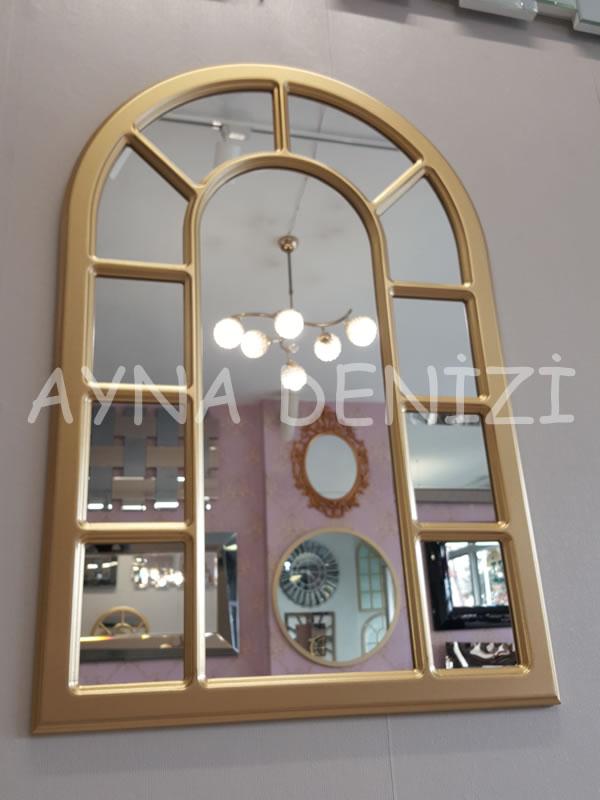 Bergamo Model Altın Renk Dekoratif Pencere Ayna-12